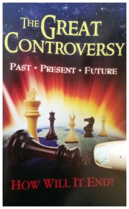 The Great Controversy book, with bonus shot of my injured thumb.